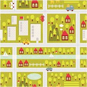 Cartoon map seamless pattern of  town and countryside.