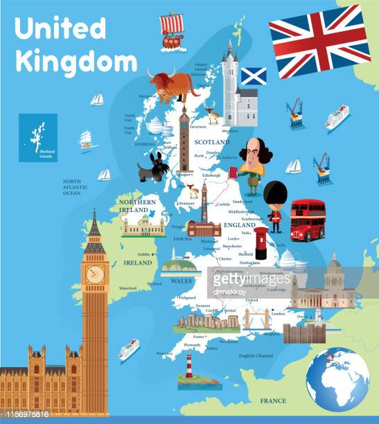 cartoon map united kingdom - british culture stock illustrations