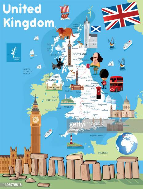 Cartoon Map United Kingdom