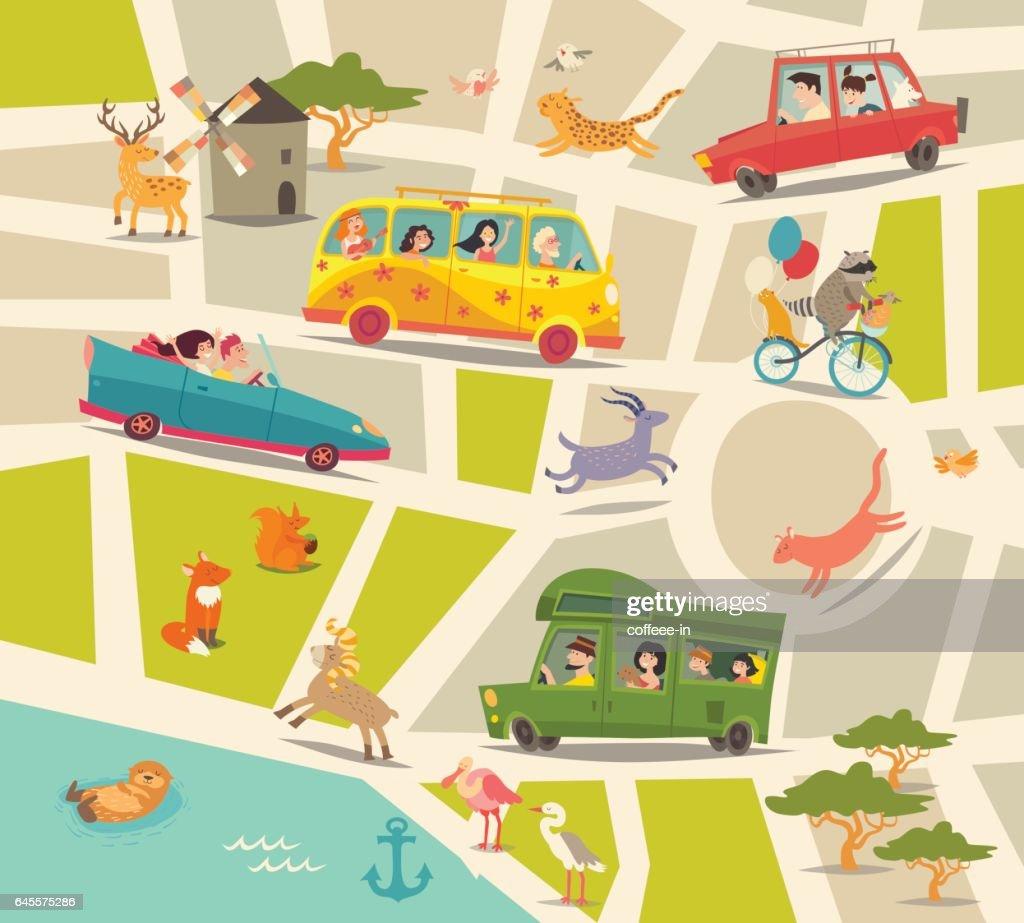 Cartoon map vector. Abstract street map