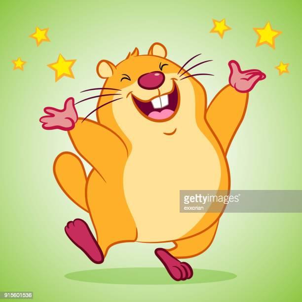 cartoon marmot for happy groundhog day - funny beaver stock illustrations