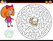 cartoon maze game with girl and puppy