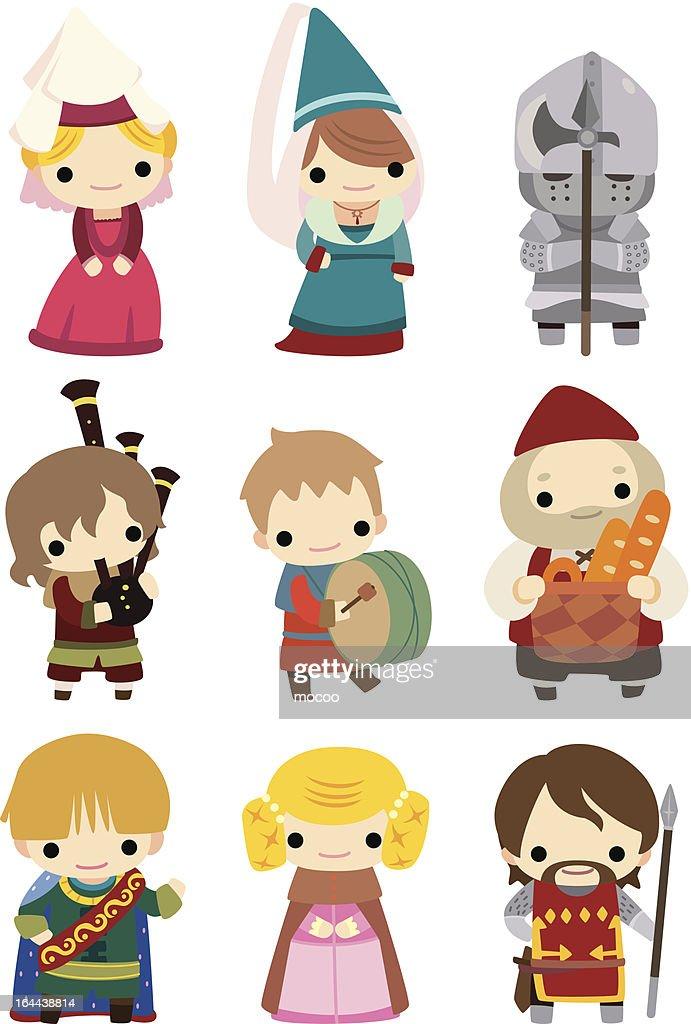 cartoon medieval people icon set