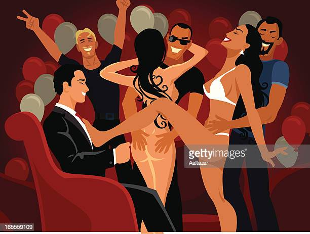 Cartoon Men at Bachelor Party with Naked Women