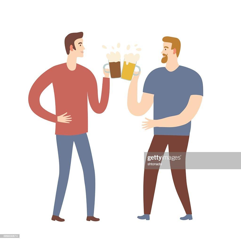 Cartoon men friends with beer