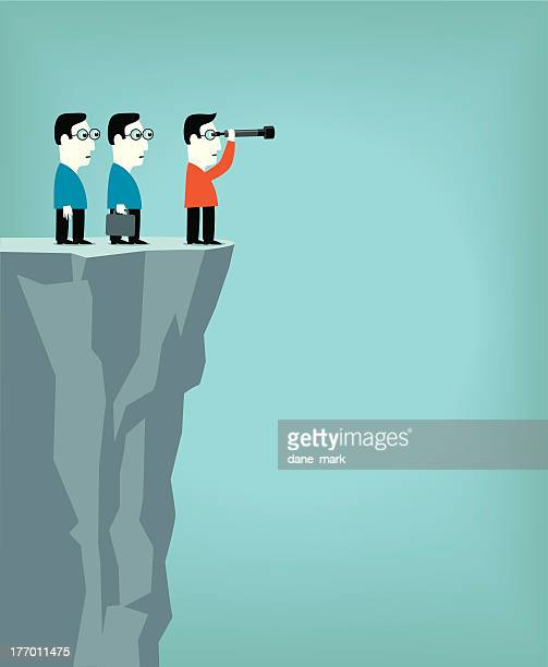 Cartoon men on cliff looking through telescope for direction