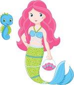 Cartoon mermaid holding a shell purse and a blue sea horse