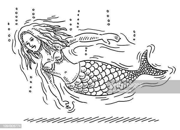 cartoon mermaid underwater drawing - diving to the ground stock illustrations