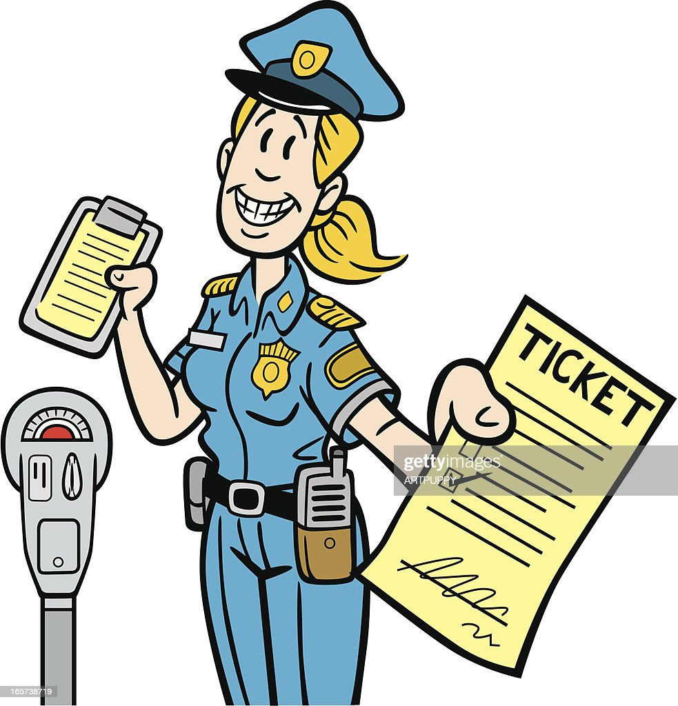 Cartoon Meter Maid Handing Ticket
