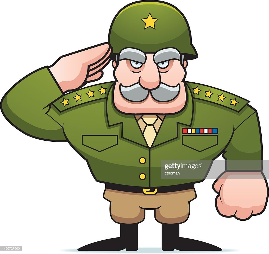 Cartoon Military General Salute