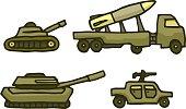 Cartoon military war vehicle set