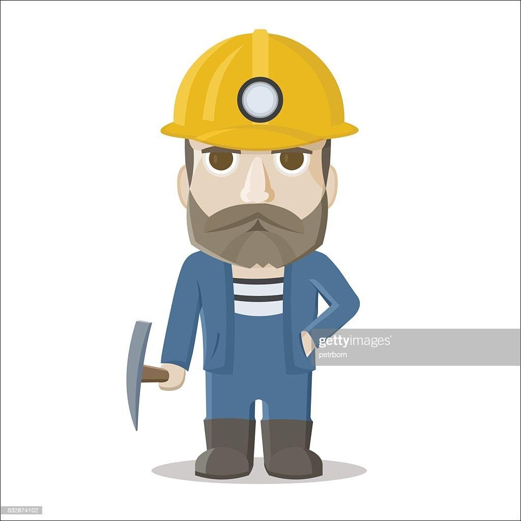 Cartoon miner on white background. Vector illustration.