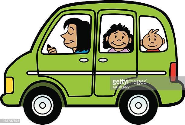 Cartoon Mini Van With Family