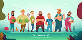 Cartoon modern collection of funny different farmers characters.