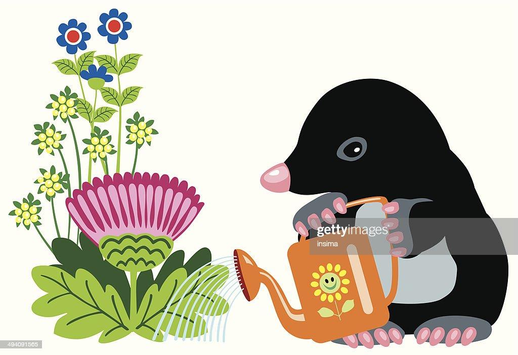 Comic Mole Giessen Blumen Vektorgrafik Getty Images