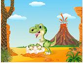 Cartoon mom tyrannosaurus dinosaur and baby dinosaurs hatching prehistoric background