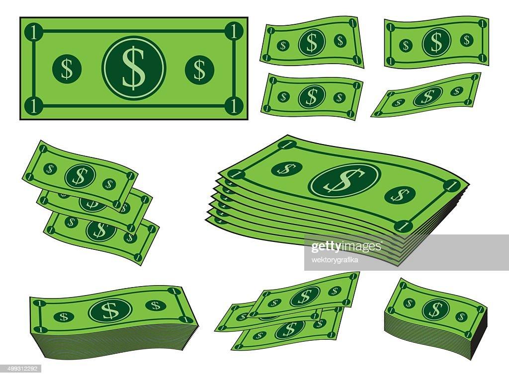 Cartoon money, dollar banknote, paper bill.