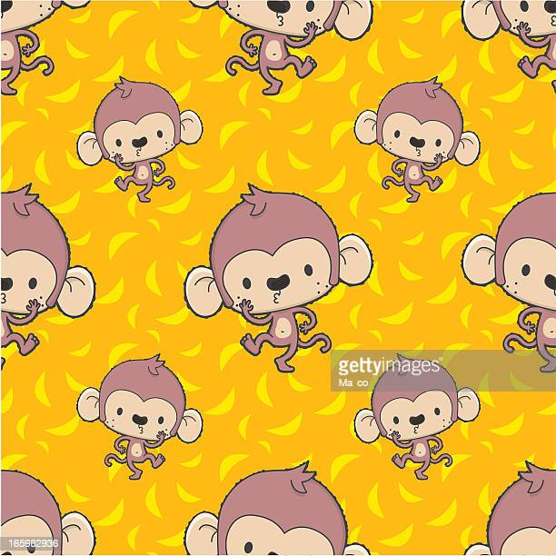 Mono de historieta con baile patrón/con bananas