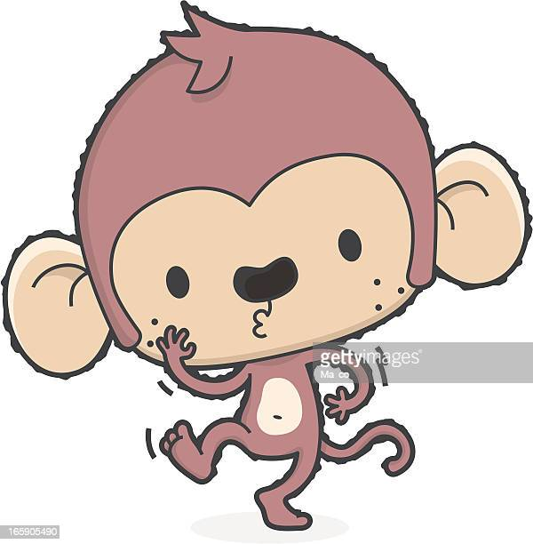 cartoon monkey dance - standing on one leg stock illustrations, clip art, cartoons, & icons
