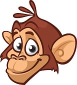 Cartoon monkey head icon. Vector isolated