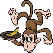 Cartoon Monkey Holding a Plate of Banana Vector Illustration