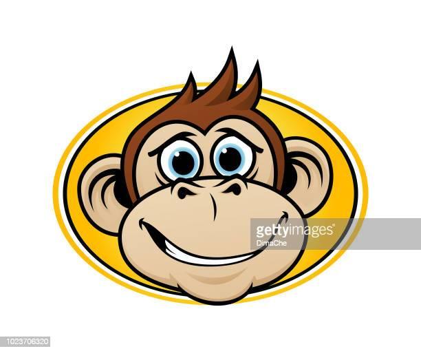 cartoon monkey mascot head vector emblem - chimpanzee teeth stock illustrations
