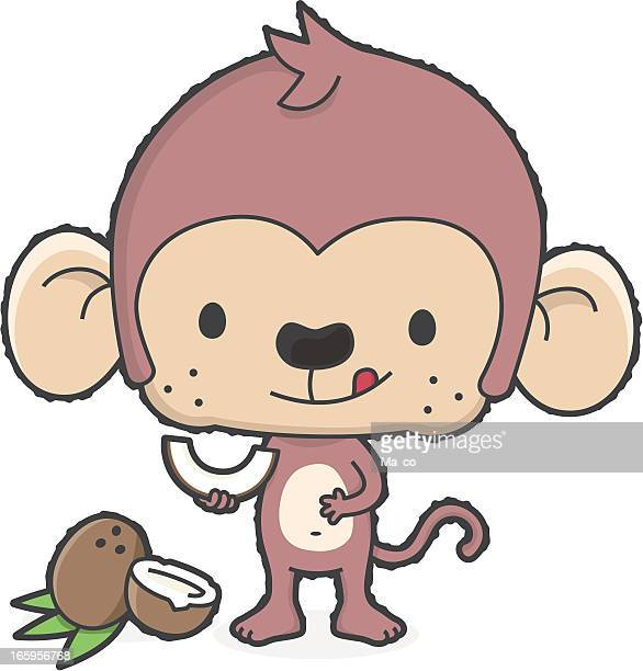 cartoon monkey with sweet coconut - coconut milk stock illustrations, clip art, cartoons, & icons