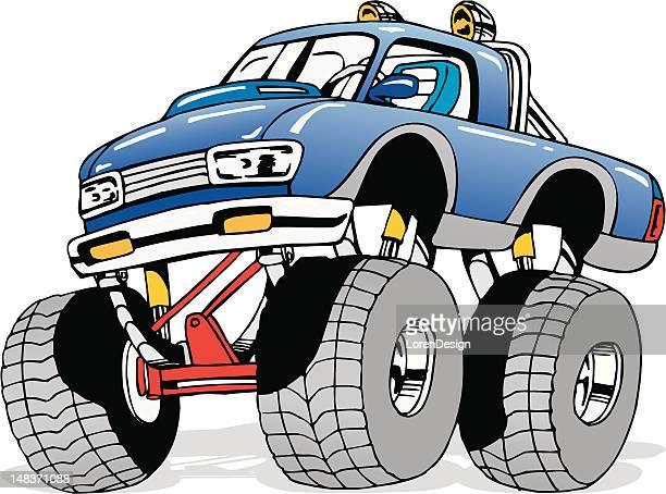 ilustraciones, imágenes clip art, dibujos animados e iconos de stock de monstruo de historieta 4 x 4 camión - monstertruck