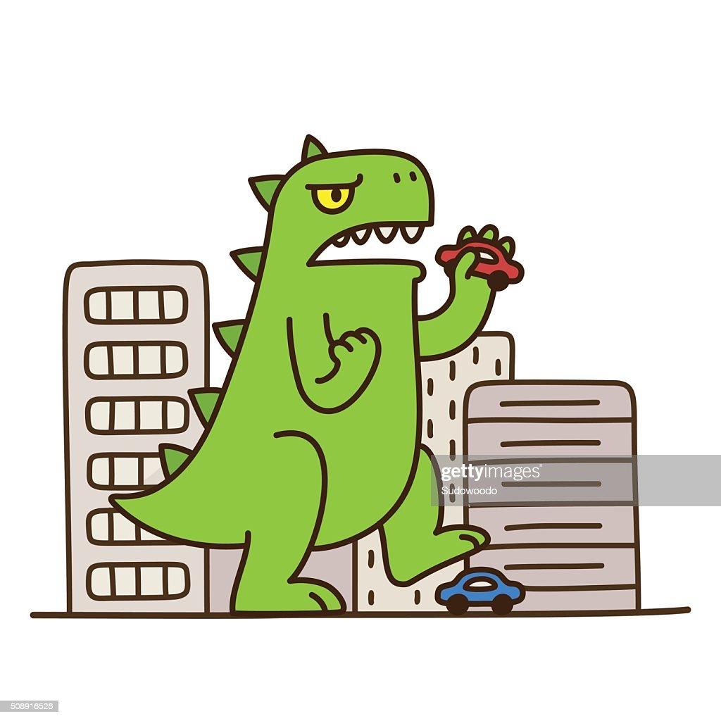 Cartoon monster destroying city