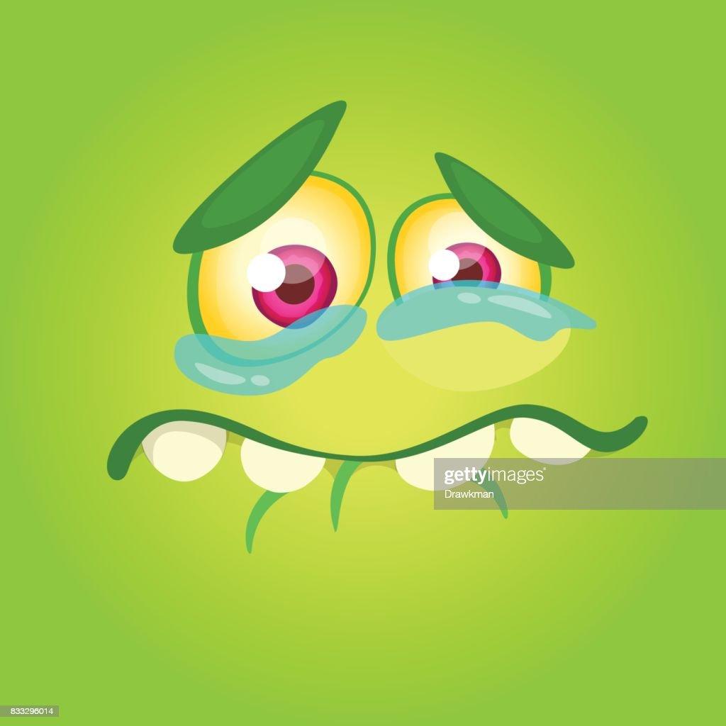 Cartoon Monster Gesicht Isoliert Vektor Halloween Happy Monster ...