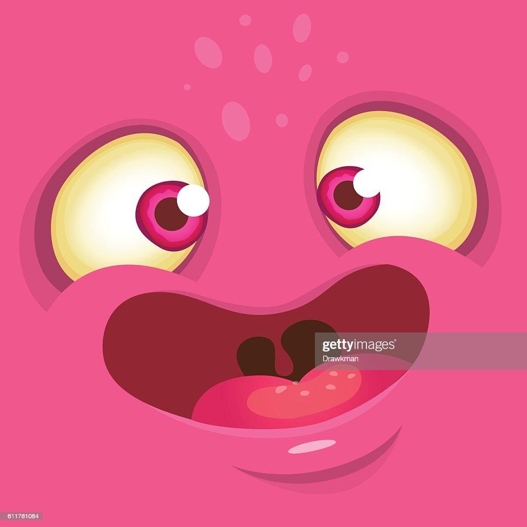 Cartoon monster face. Pink avatar monster for Halloween