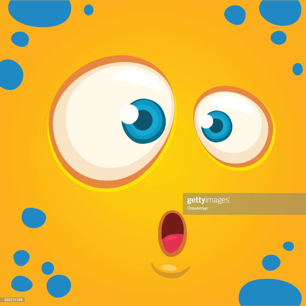 Cartoon monster face surprised expression. Prints design for t-shirts