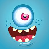 Cartoon monster face. Vector Halloween blue monster with one eye