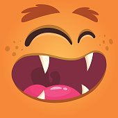 Cartoon monster face. Vector Halloween orange cool monster avatar with wide smile