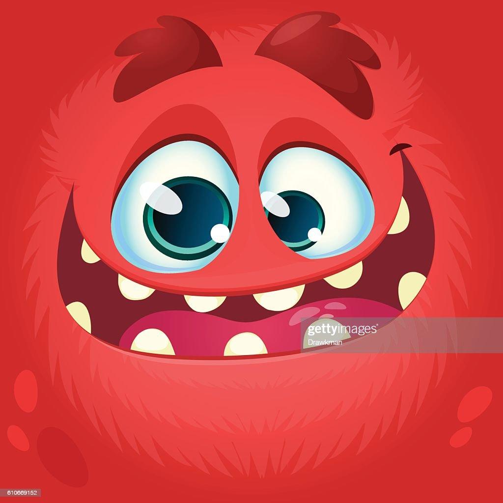 Cartoon monster face. Vector Halloween red monster avatar