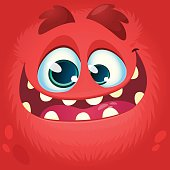 Cartoon monster face. Vector Halloween red monster avatar