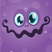 Cartoon monster face. Vector Halloween violet monster avatar