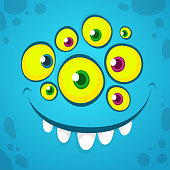 Cartoon monster face with many eyes. Vector Halloween blue monster avatar with wide smile
