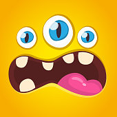 Cartoon monster face with three eyes. Vector illustration