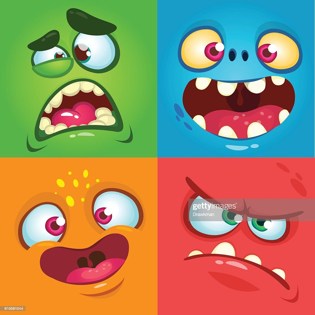 Cartoon monster faces set. Vector set Halloween monster faces