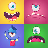 Cartoon monster faces set. Vector set of four Halloween monster faces