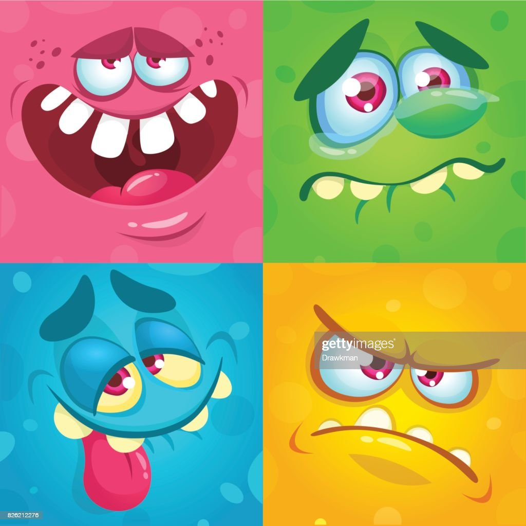 Cartoon monster faces set. Vector set of four Halloween monster faces or avatars. Print design of monsters mask for masqarade
