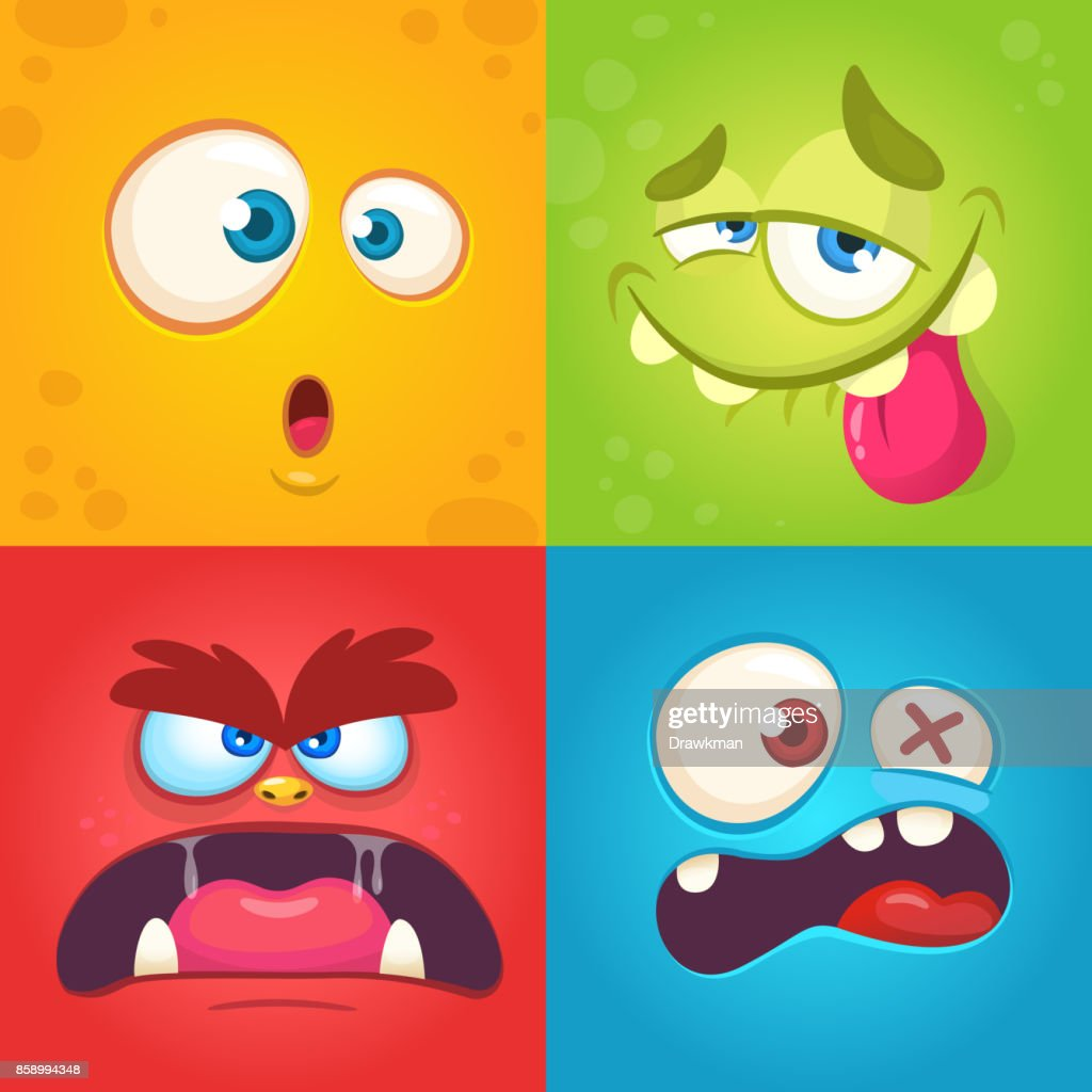 Cartoon Monster Steht Satz Von Vier Vektor Halloween Monster ...