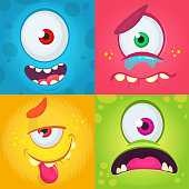 Cartoon monster faces set. Vector set of four Halloween monster faces with different expressions. One-eyed monsters illustration