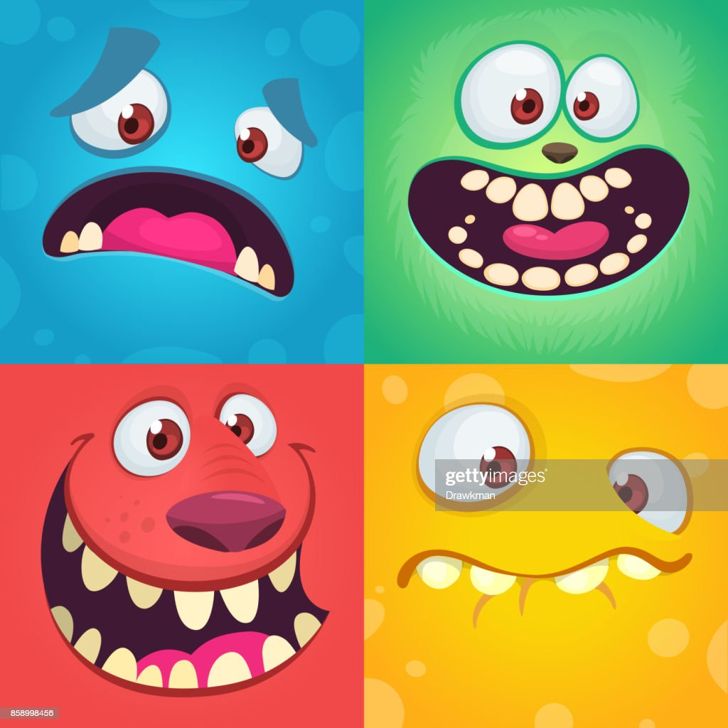 Cartoon monster faces set. Vector set of four Halloween monster faces with different expressions. Children book illustrations or party decorations