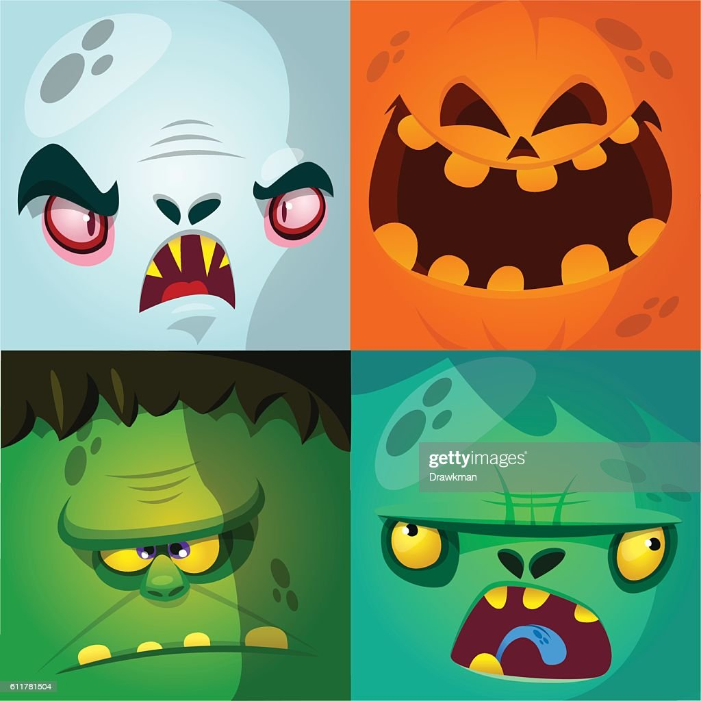 Cartoon monster faces vector set. Cute square avatars and icons.