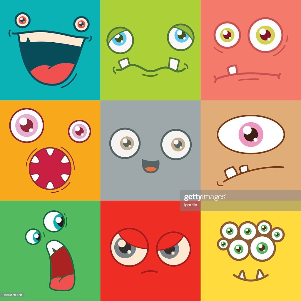 cartoon monster faces vector set