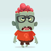 Cartoon monster zombie scientist wearing funny. Vector illustration isolated