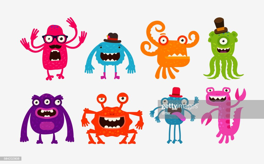 Cartoon monsters or bogeyman set. Vector illustration