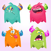Cartoon Monsters. Vector set of cartoon monsters isolated. Design for print, party decoration, t-shirt, illustration, logo, emblem or sticker